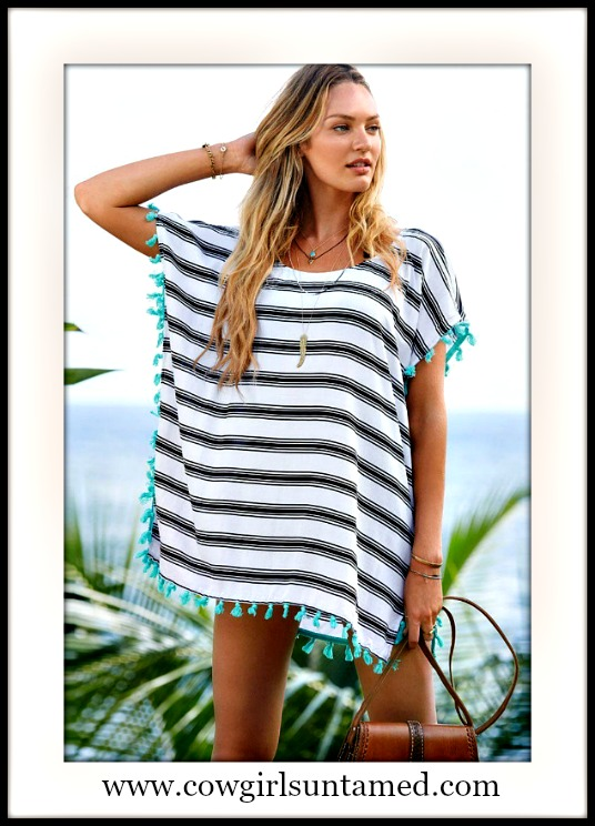 WILDFLOWER COVERUP Black Striped Aqua Tassel White Oversized Boho Cover Up / Top