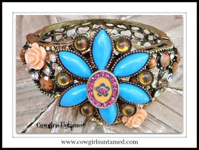 COWGIRL JUNK GYPSY CUFF Blue Turquoise Peach Floral N Amber Rhinestone Filigree Western Cuff