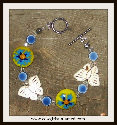 COWGIRL GYPSY BRACELET Yellow Orange N Blue Flower with Butterfly Crystal N Blue Beaded Boho Bracelet