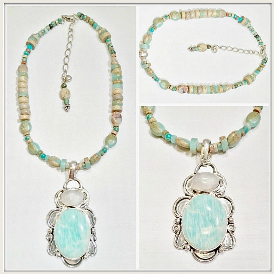 BOHEMIAN NECKLACE Amazonite & Moonstone SS Pendant Gemstone Beaded Necklace