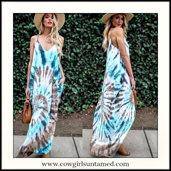 BOHEMIAN COWGIRL DRESS Blue Tie Dye Sleeveless Boho Maxi Dress
