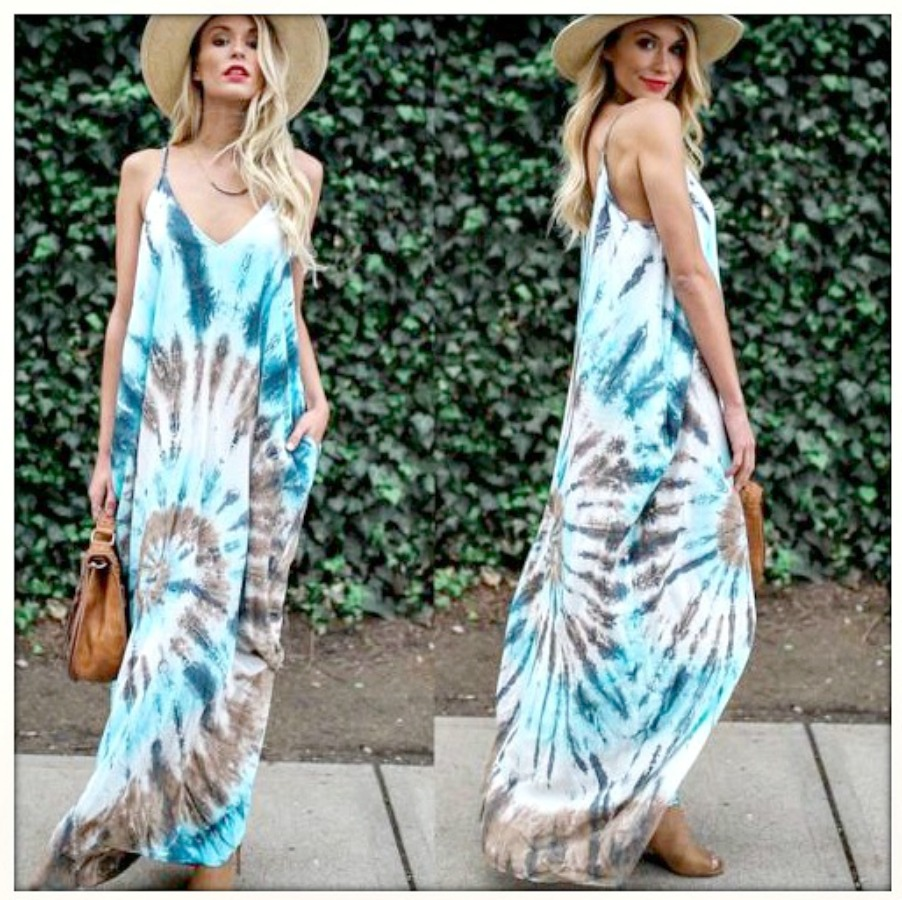 BOHEMIAN COWGIRL DRESS Blue Tie Dye Sleeveless Boho Maxi Dress  LAST ONE  S/M