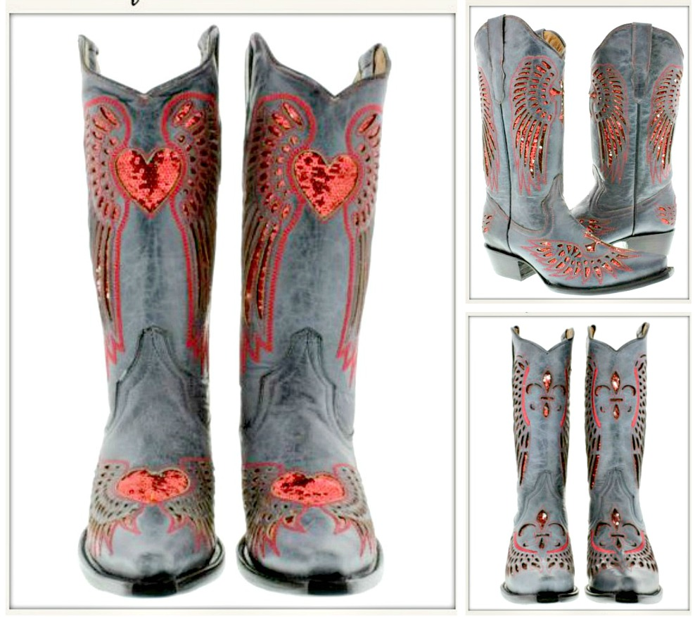 COWGIRL SEQUIN BOOTS Red Sequin Angel Wings Genuine Blue Genuine Leather Snip Toe Boots- Heart, Fleur de Lis or Cross Sizes 5-11