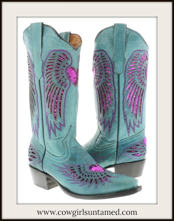 COWGIRL STYLE BOOTS Fuchsia Sequin Heart & Angel Wings Turquoise Genuine Leather Cowgirl Boots