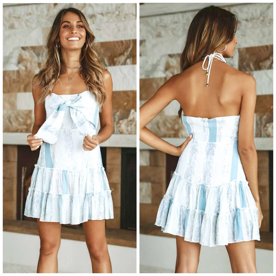 THE SOPHIA DRESS Blue White Mixed Pattern Bow Halter Boho Mini Dress