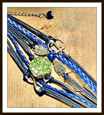 COWGIRL ATTITUDE BRACELET Silver Owls, Anchor, Infity Charm with Green Rhinestone Snap and Blue Crystal Charm on Blue Leather Charm Bracelet
