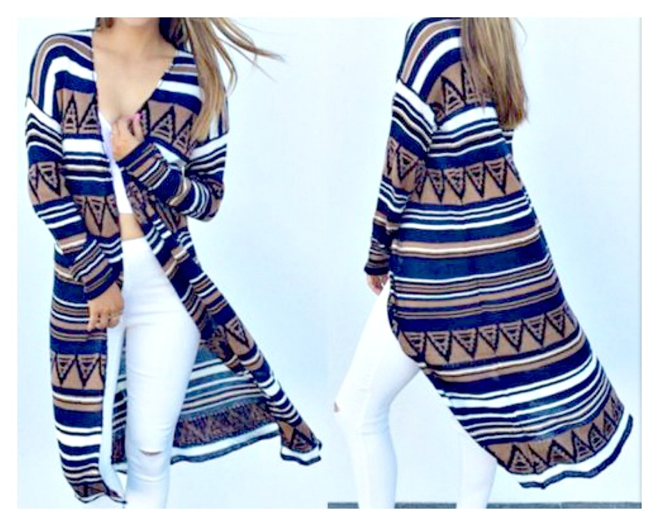 COWGIRL STYLE CARDIGAN Blue Brown White Aztev Long Sleeve Open Duster Cardigan