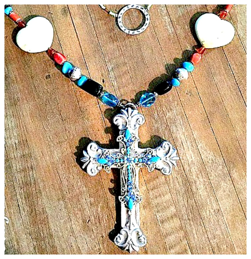 COWGIRL GYPSY NECKLACE Blue Crystal Cross Large Pewter Pendant Turquoise Heart Horse Beaded Long Necklace Earrings Set