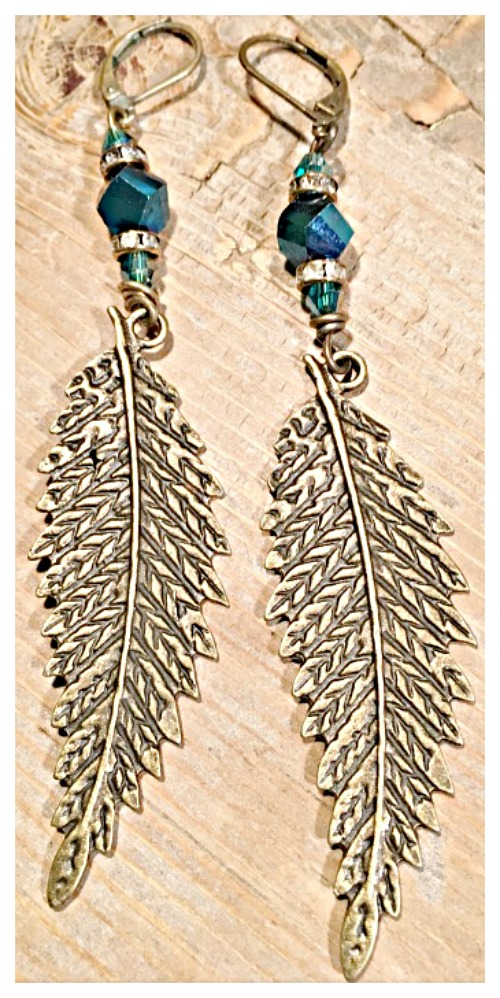 VINTAGE GYPSY EARRINGS Antique Bronze Feather Rhinestone Blue Swarovski Crystal Earrings