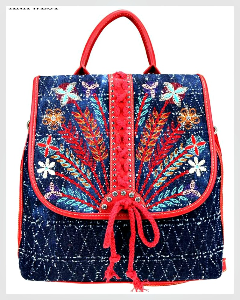 COWGIRL SUMMER BACKPACK Floral Embroidered Blue Denim & Red Leather Western Backpack