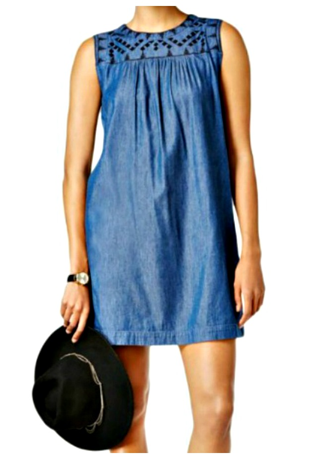 THE EMMIE DRESS Sleeveless Blue Chambray Embroidered Casual Summer Mini Dress