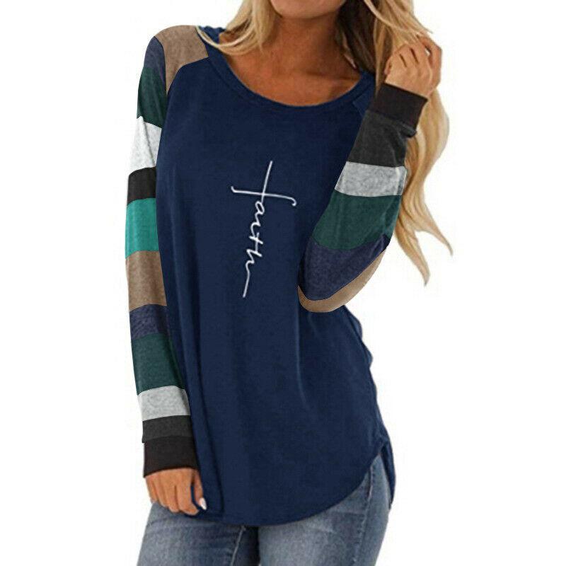 """HAVE FAITH TOP Multi Color Stripe Sleeve """"FAITH"""" Navy Blue Long Sleeve Womens Top S-XL"""