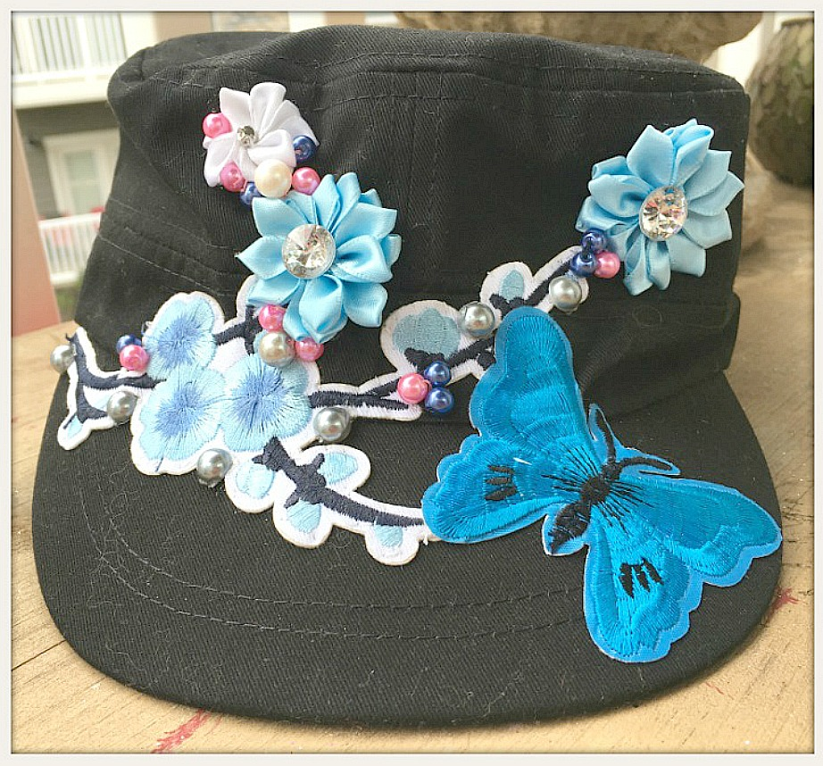 BOHEMIAN COWGIRL CAP Blue and Pink Pearls Blue Butterfly Silk Flower Black Cadet Cap