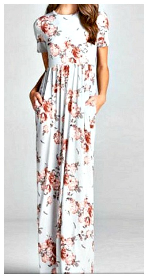 WILDFLOWER DRESS Soft Light Blue Pink Floral Short Sleeve Maxi Dress