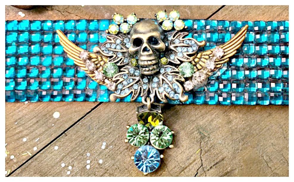 COWGIRLS ROCK BRACELET Green & Blue Rhinestone Bronze Skull on Blue Crystal Cuff