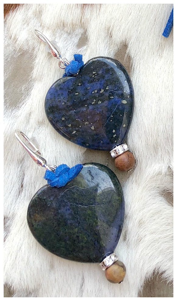 INTO THE BLUE EARRINGS Custom Cobalt Blue Leather Brown Gemstone Rhinestone Large Blue Jasper Heart  Silver Earrings