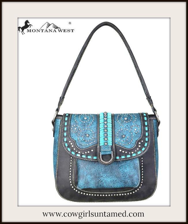 BOHEMIAN COWGIRL HANDBAG Blue & Aqua Saddle Stitch Tooled Black Leather Hobo Bag