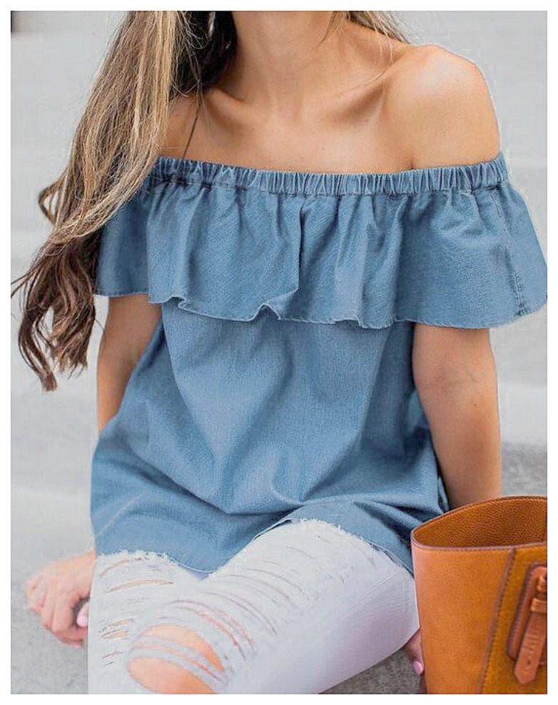 WILDFLOWER TOP Blue Jean Off the Shoulder Flounce Top