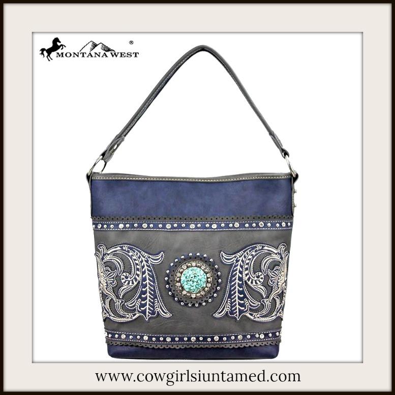 COWGIRL STYLE HANDBAG Rhinestone Concho Floral Embroidered Crystal Navy Blue Handbag