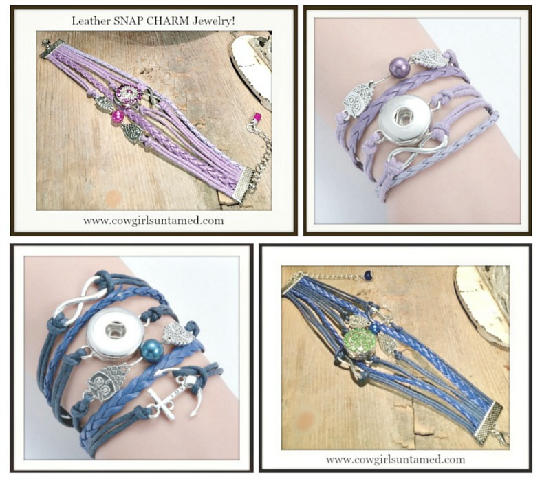 COWGIRL ATTITUDE BRACELET Silver Owls Infity Charm Rhinestone Snap Bracelet 2 DESIGNS!