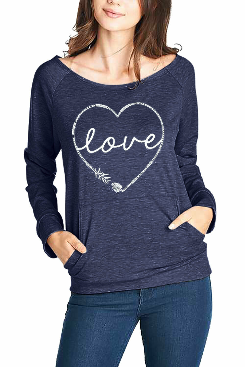 I'M IN LOVE TOP Arrow Heart on Blue Long Sleeve Round Neck Pockets Top Sweatshirt