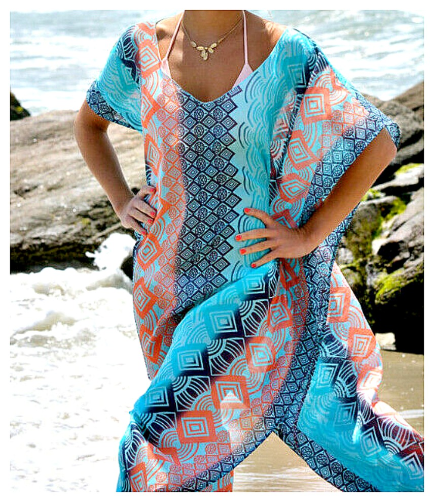 INTO THE BLUE KAFTAN COVER UP Multi Color Blue Stripe V Neck Long Flowy Dress Cover Up - Misses/Plus