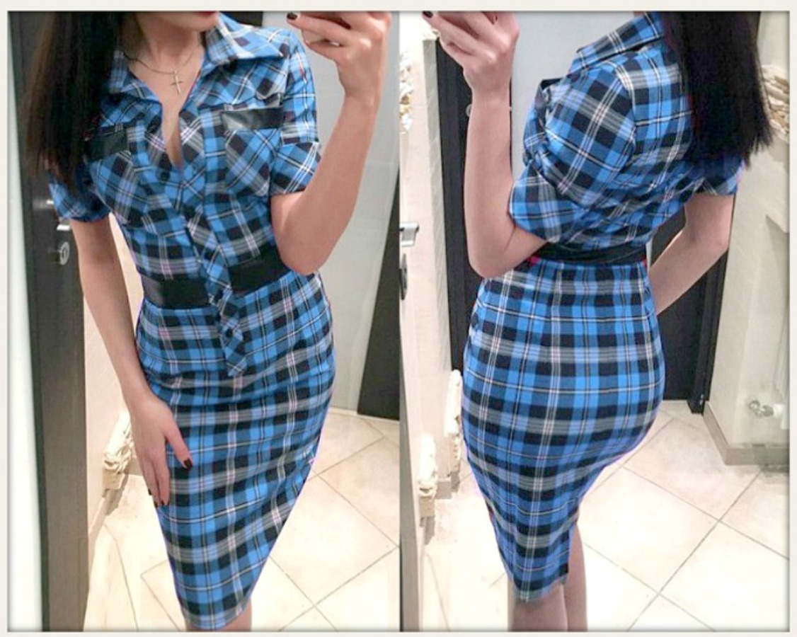 COWGIRL STYLE DRESS Blue Black White Plaid Short Sleeve Fitted Leather Accent Dress
