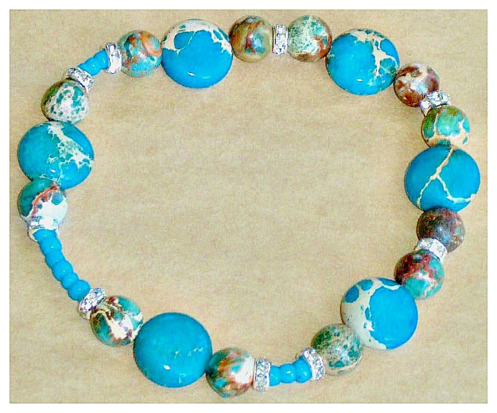 WILDFLOWER BRACELET Custom San Pablo  Blue Sea Sediment Jasper Gemstone Turquoise Silver Rhinestone Stretch Bracelet