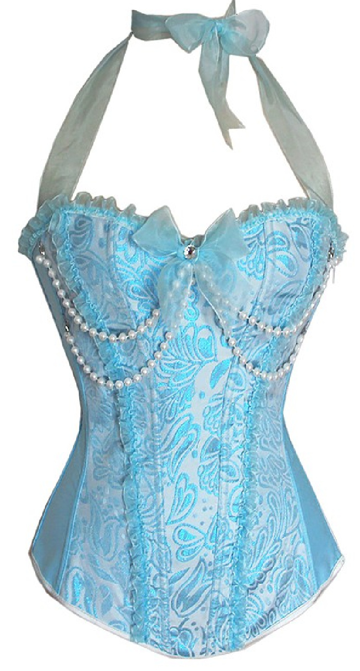 THE SOUTHERN BELLE CORSET - Sparkly Pastel Blue Floral with Ruffles Bow Dripping Pearls Halter Corset Top - S ONLY