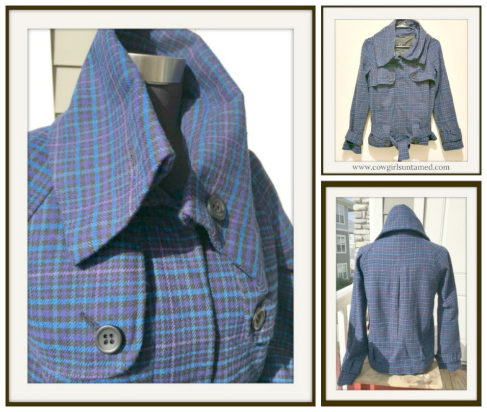 DESIGNER JACKET Blue Black Purple Plaid Designer Jacket