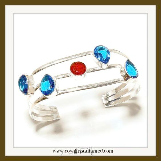 COWGIRL GYPSY BRACELET  Blue Topaz & Red Garnet Sterling Silver Bracelet
