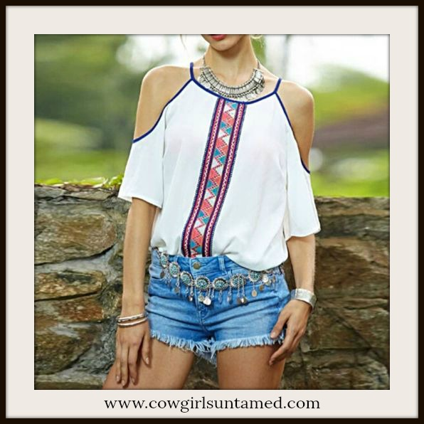 COWGIRL GYPSY TOP Red Navy Teal Coral Aztec Stripe Cold Shoulder White Top