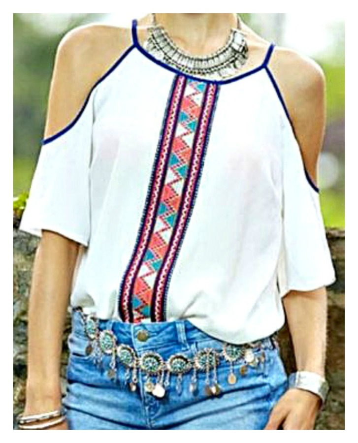 COWGIRL GYPSY TOP Red Navy Teal Coral Aztec Stripe Print Cold Shoulder White Top