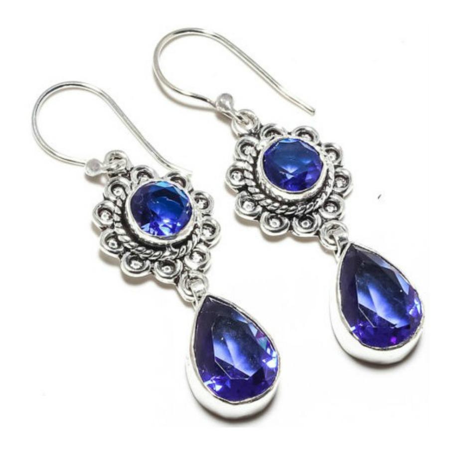 COWGIRL GYPSY EARRINGS Blue Sapphire Gemstone Long Earrings