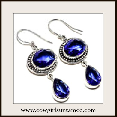 COWGIRL GYPSY EARRINGS Vintage Style Blue Sapphire Gemstone 925 Sterling Silver Earrings