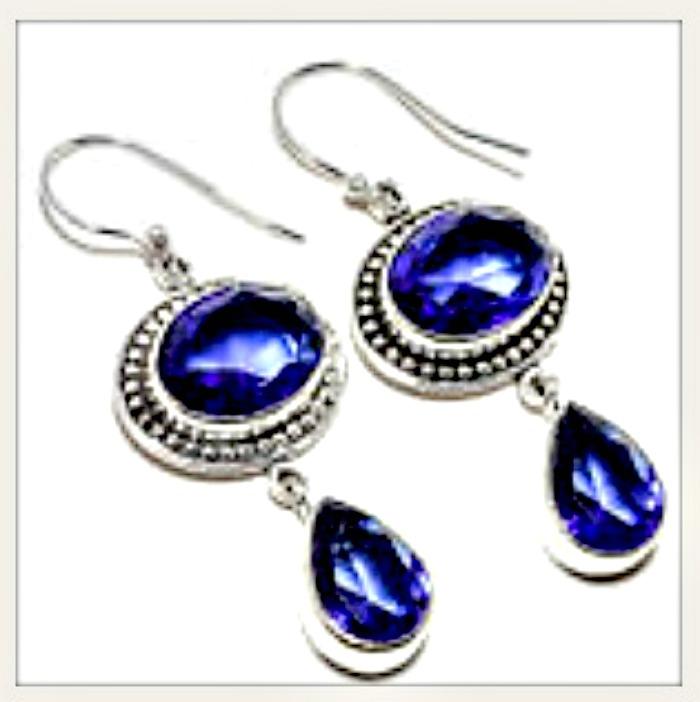 COWGIRL GYPSY EARRINGS Vintage Style Blue Sapphire Gemstone 925 Sterling Silver Earrings