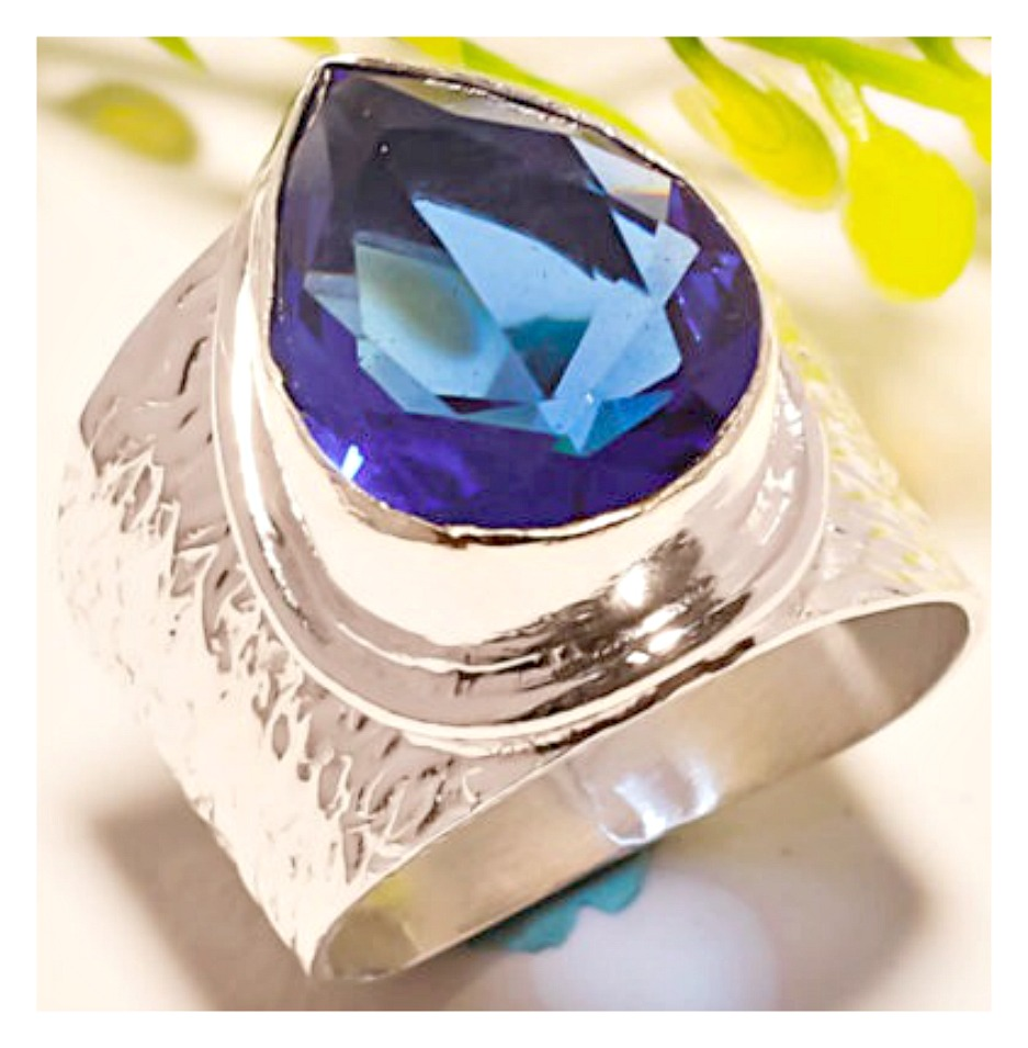 BOHO CHIC RING Blue Sapphire Sterling Silver Wide Ring