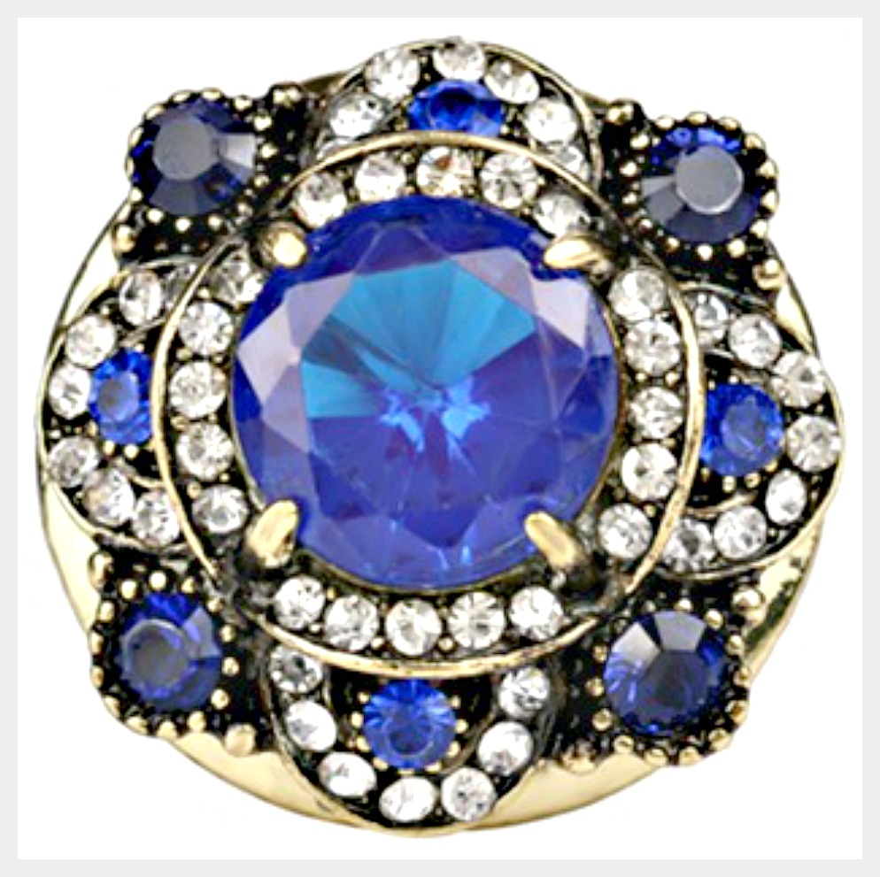 VINTAGE BOHEMIAN RING Blue Stone & Crystal Antique Gold Plated Boho Ring