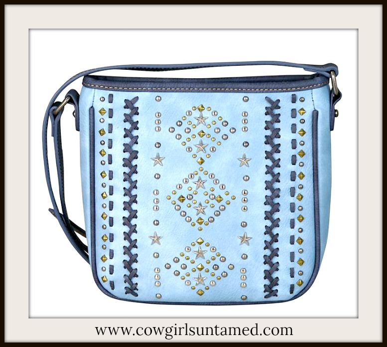 COWGIRL STYLE BAG Navy Cross Stitch Silver & Brass Studded Star Blue Crossbody Bag