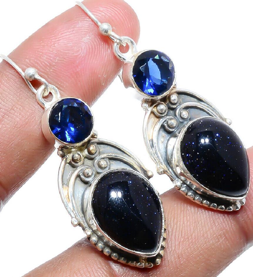 BOHO COWGIRL EARRINGS Blue Sunstone & Sapphire Vintage Style 925 Sterling Silver Dangle Earrings