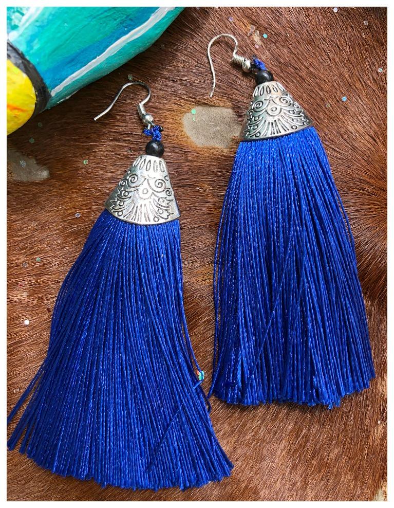 VINTAGE BOHEMIAN EARRINGS Blue Tassel Long Antique Silver Boho Earrings LAST PAIR!