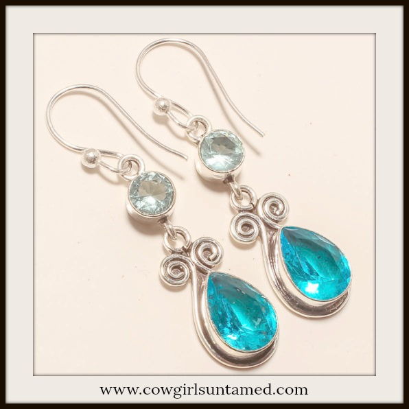 COWGIRL GYPSY EARRINGS Blue Topaz Gemstone 925 Sterling Silver Earrings