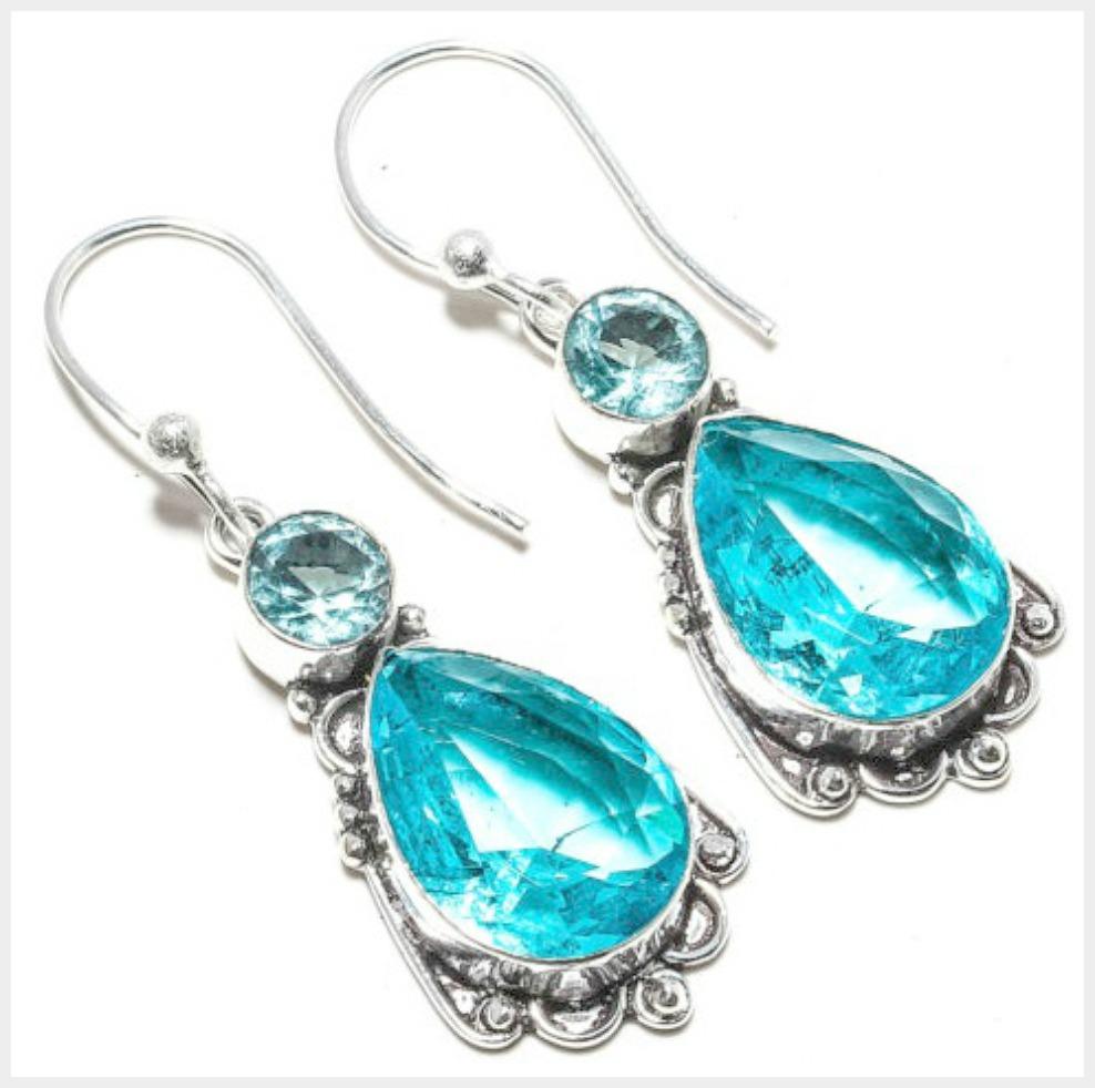 COWGIRL GYPSY EARRINGS Vintage Style Blue Topaz 925 Sterling Silver Earrings
