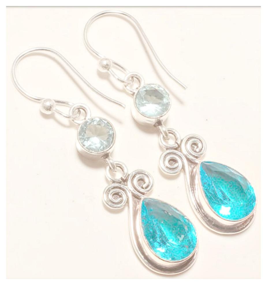 COWGIRL GYPSY EARRINGS Blue Topaz Gemstone 925 Sterling Silver Earrings