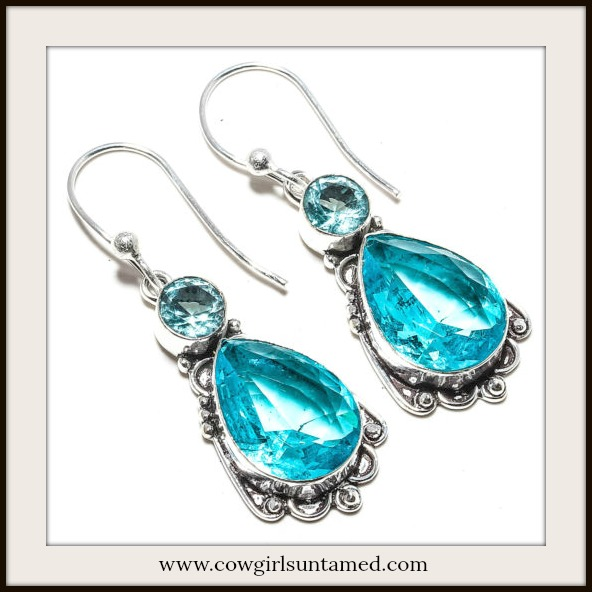 COWGIRL GYPSY EARRINGS Vintage Style Blue Topaz 925 Sterling Silver Earrings