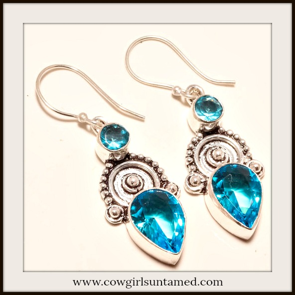 COWGIRL GYPSY EARRINGS Vintage Style Blue Topaz Gemstone 925 Sterling Silver Earrings