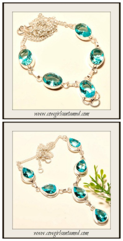 COWGIRL GYPSY NECKLACE Ocean Blue Topaz Sterling Silver Boho Chic Necklace