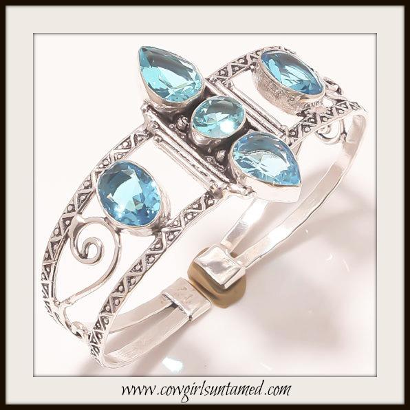 BOHEMIAN COWGIRL BRACELET Blue Topaz Sterling Silver Vintage Style Cuff