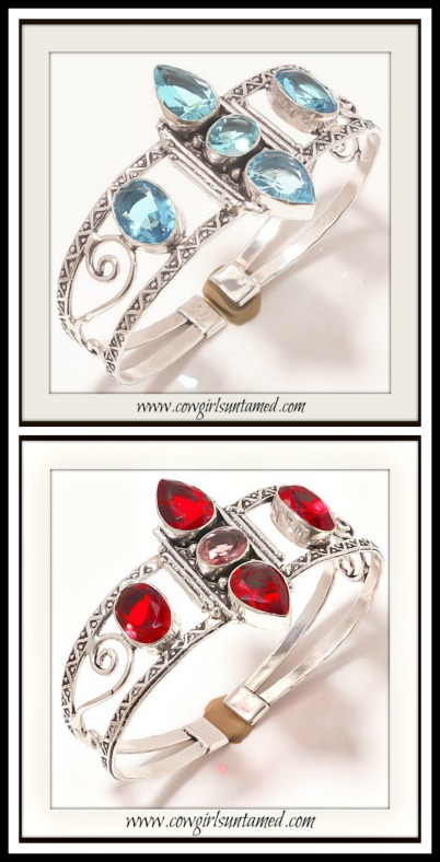 BOHEMIAN COWGIRL BRACELET Gemstone & Sterling Silver Vintage Style Cuff