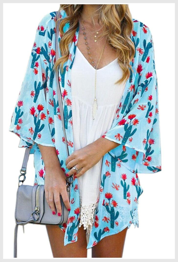 DESERT DAYS KIMONO Teal Cactus Red Pink Floral on Blue Turquoise Chiffon Boho Kimono